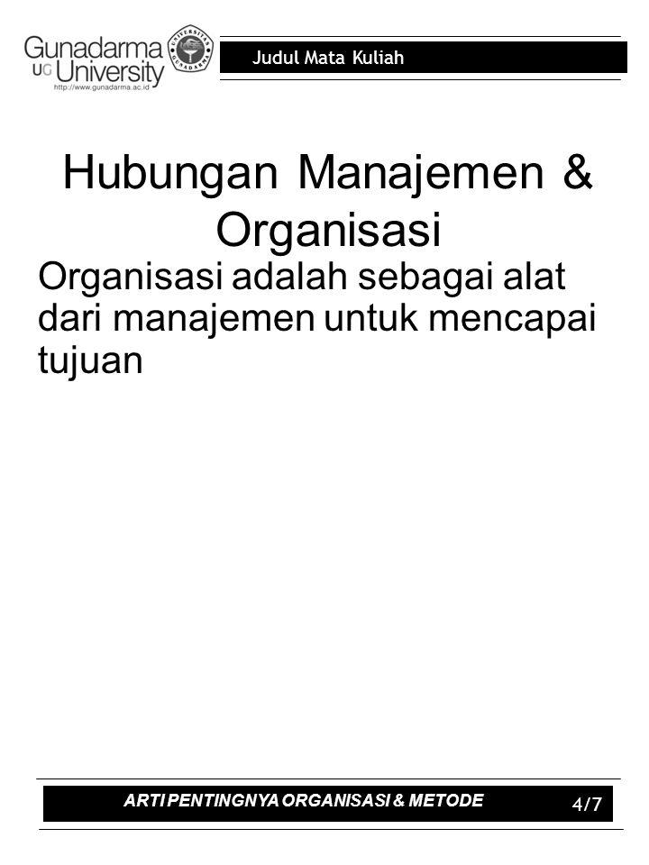 Judul Mata Kuliah 4/7 Hubungan Manajemen & Organisasi Organisasi adalah sebagai alat dari manajemen untuk mencapai tujuan ARTI PENTINGNYA ORGANISASI & METODE