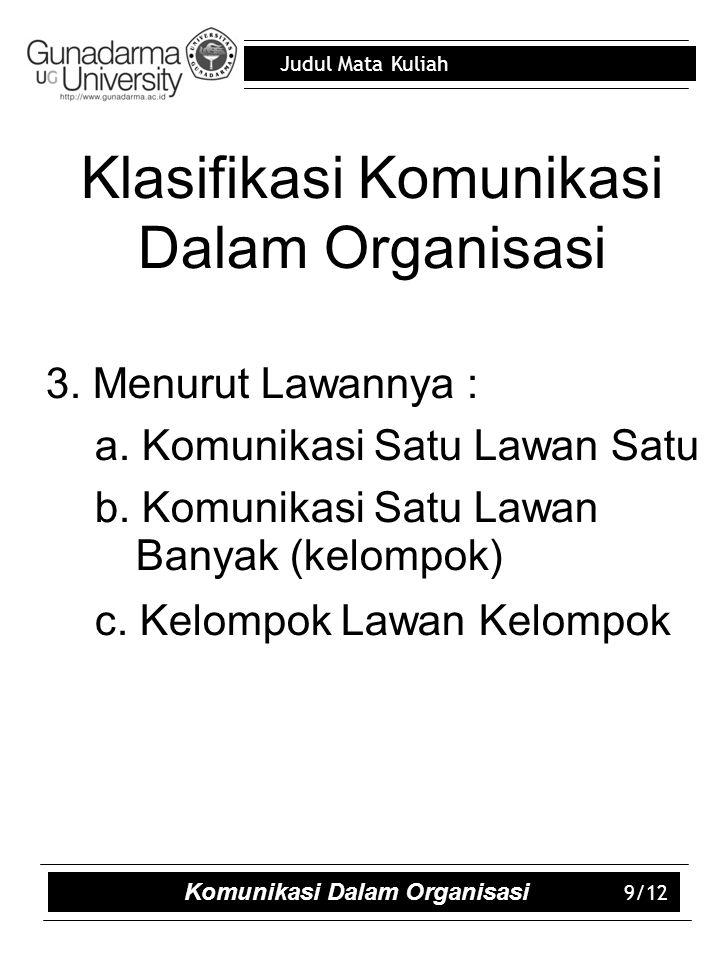 Judul Mata Kuliah Klasifikasi Komunikasi Dalam Organisasi 3.