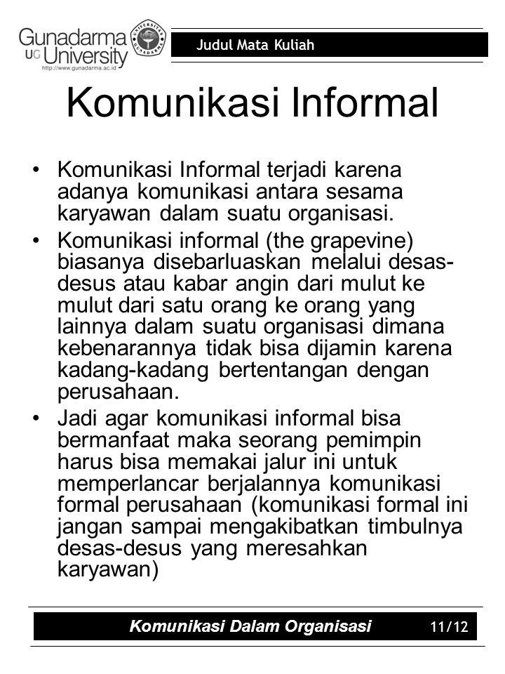 Judul Mata Kuliah Komunikasi Informal Komunikasi Informal terjadi karena adanya komunikasi antara sesama karyawan dalam suatu organisasi.
