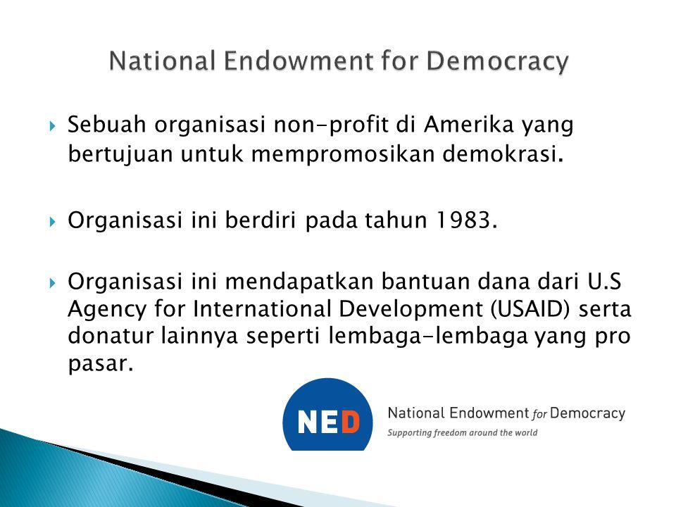  Sebuah organisasi non-profit di Amerika yang bertujuan untuk mempromosikan demokrasi.