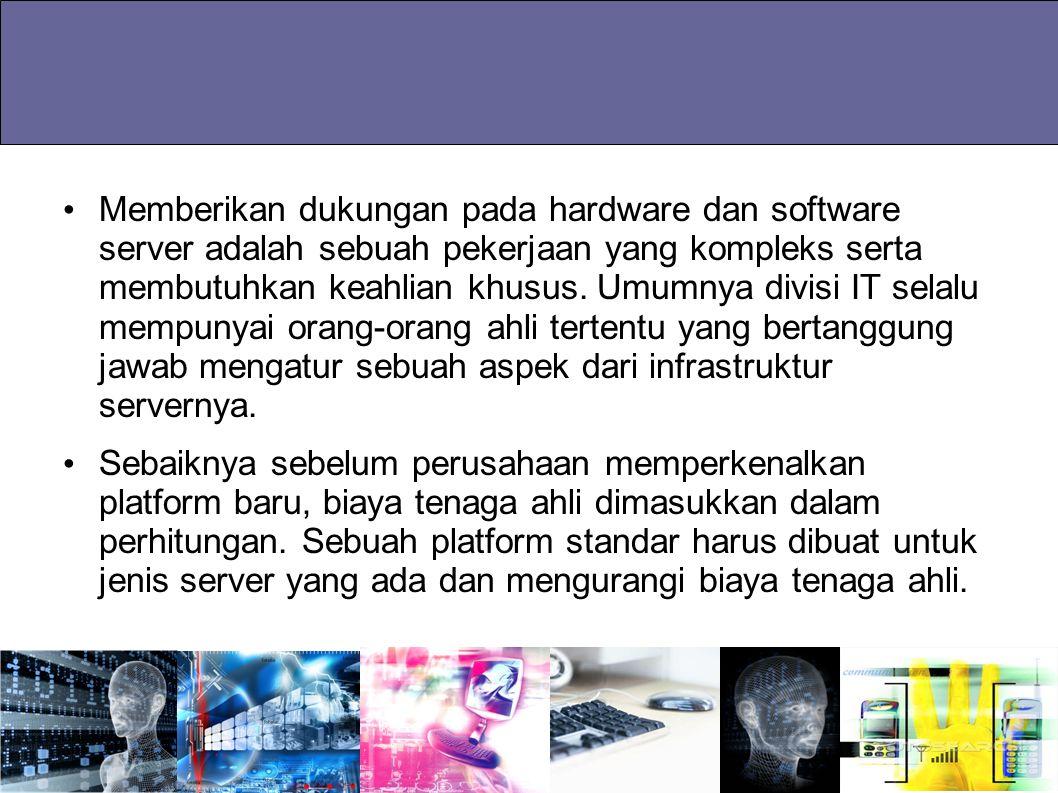 Memberikan dukungan pada hardware dan software server adalah sebuah pekerjaan yang kompleks serta membutuhkan keahlian khusus. Umumnya divisi IT selal