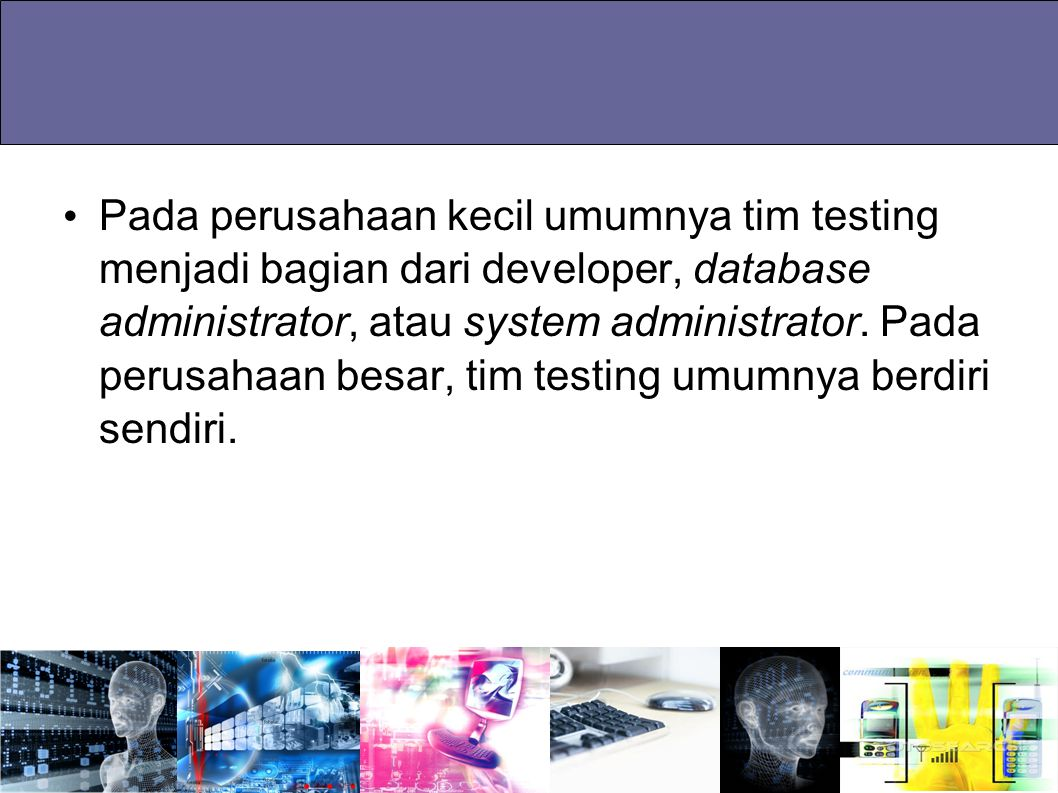Pada perusahaan kecil umumnya tim testing menjadi bagian dari developer, database administrator, atau system administrator. Pada perusahaan besar, tim