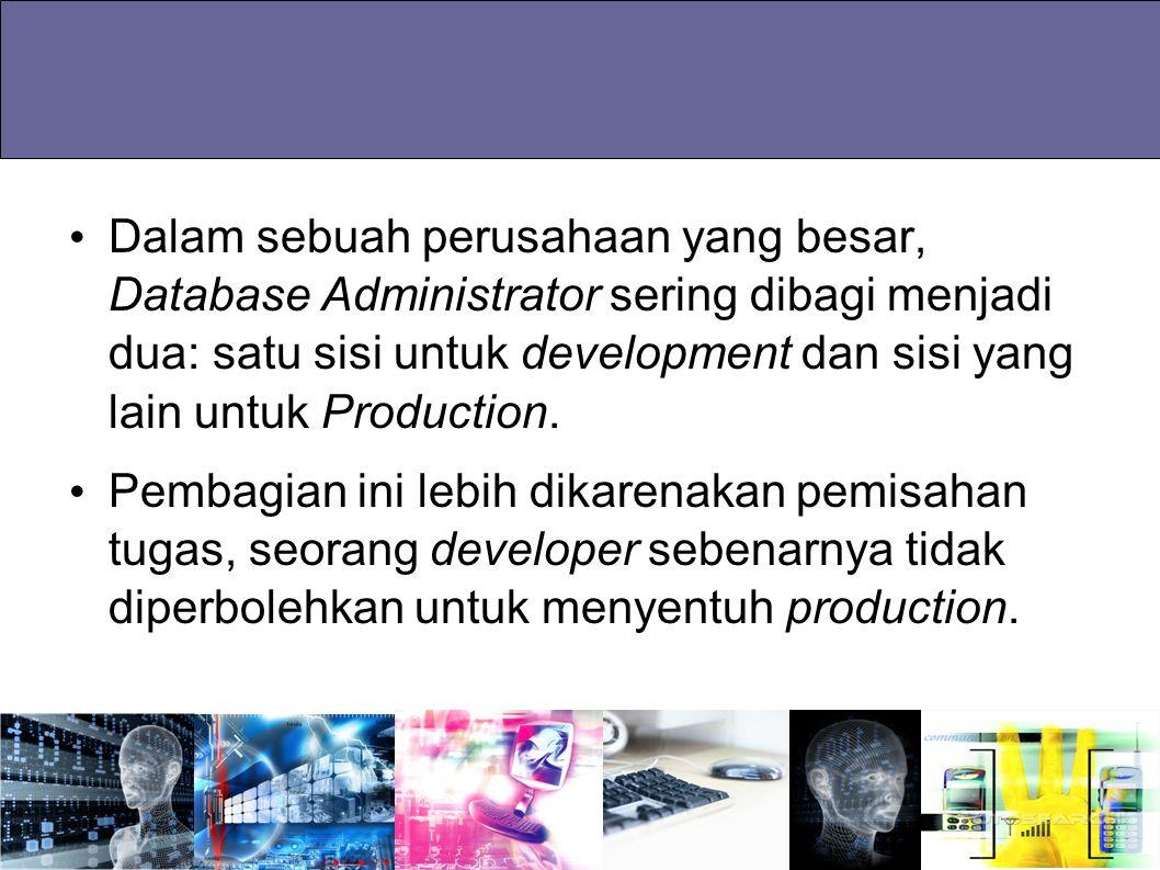Dalam sebuah perusahaan yang besar, Database Administrator sering dibagi menjadi dua: satu sisi untuk development dan sisi yang lain untuk Production.