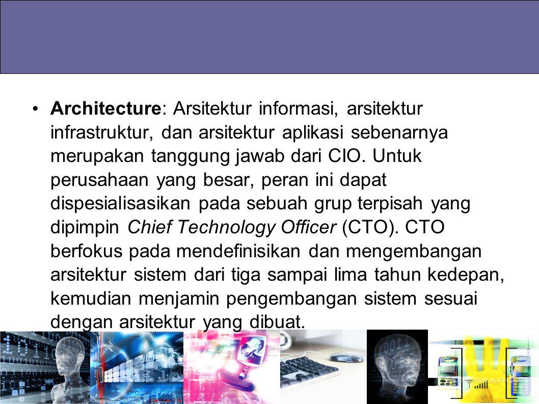 Architecture: Arsitektur informasi, arsitektur infrastruktur, dan arsitektur aplikasi sebenarnya merupakan tanggung jawab dari CIO. Untuk perusahaan y