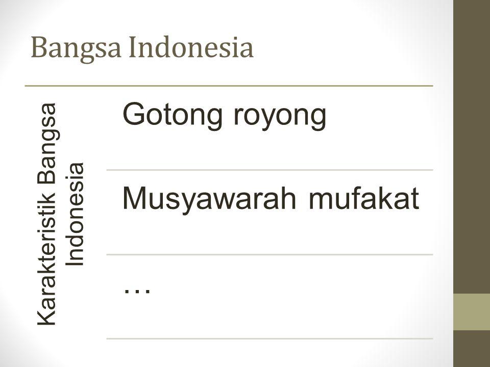 Bangsa Indonesia Kepribadian bangsa Indonesia Penjajahan Belanda selama 350 tahun Karakteristik bangsa Indonesia menjadi luntur
