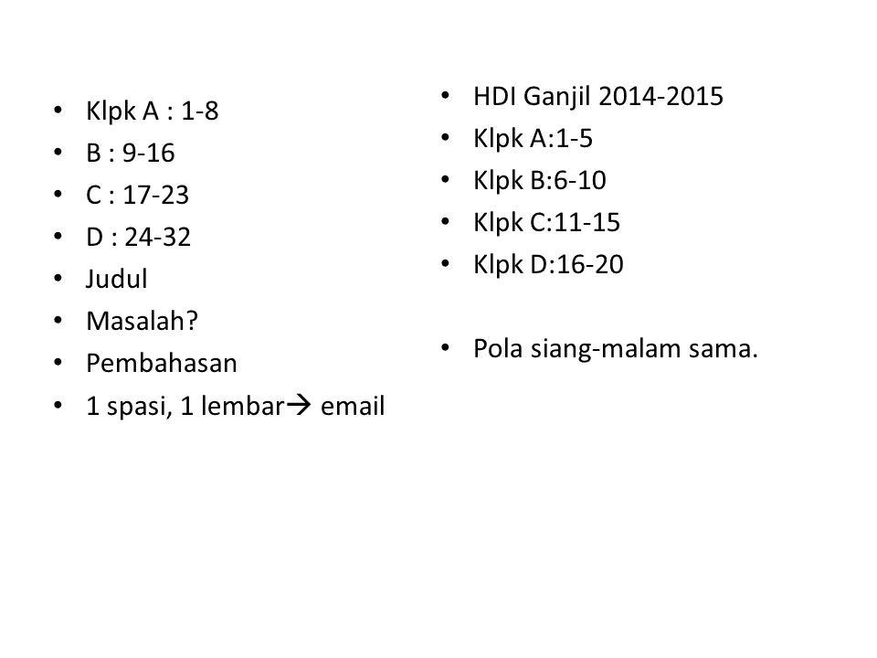 Klpk A : 1-8 B : 9-16 C : 17-23 D : 24-32 Judul Masalah.