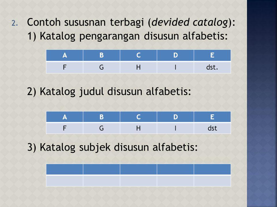 1. Contoh susunan menurut kamus: ABCDE FGHIJ KLMNdst.