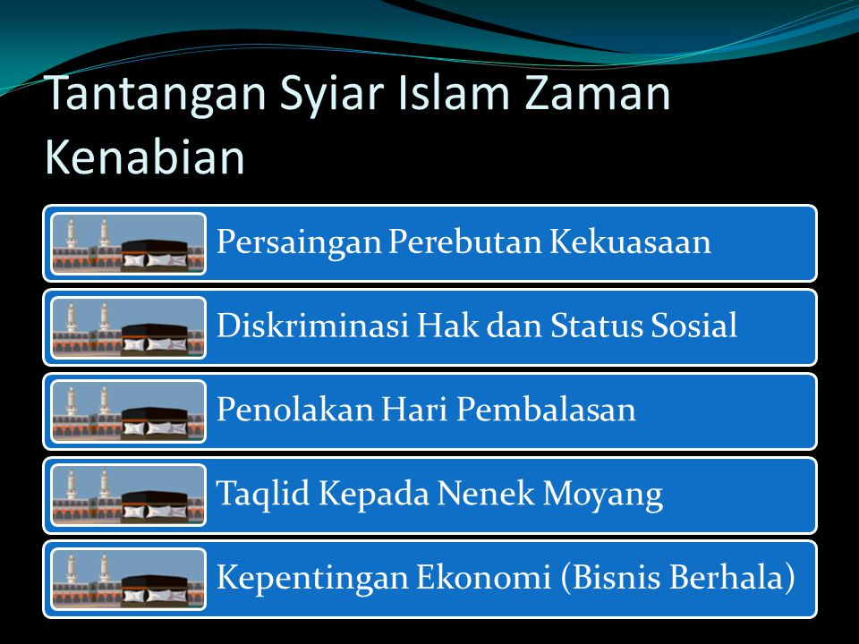 Tantangan Syiar Islam Zaman Kenabian Persaingan Perebutan Kekuasaan Diskriminasi Hak dan Status Sosial Penolakan Hari Pembalasan Taqlid Kepada Nenek Moyang Kepentingan Ekonomi (Bisnis Berhala)