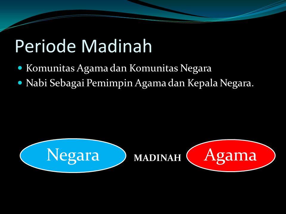 Periode Madinah Komunitas Agama dan Komunitas Negara Nabi Sebagai Pemimpin Agama dan Kepala Negara. MADINAH Agama Negara