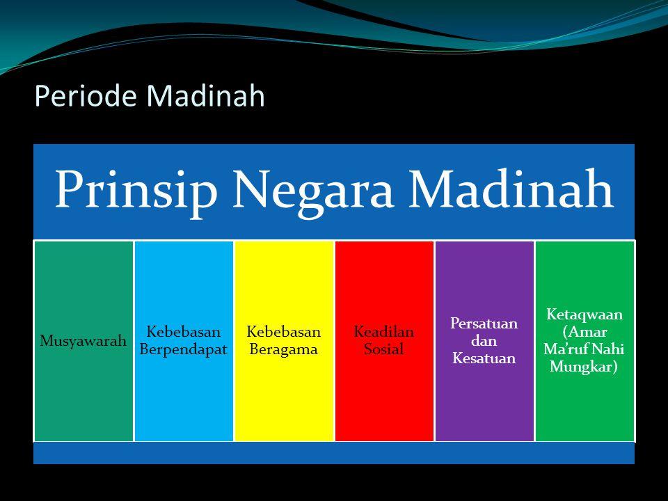 Periode Madinah Prinsip Negara Madinah Musyawarah Kebebasan Berpendapat Kebebasan Beragama Keadilan Sosial Persatuan dan Kesatuan Ketaqwaan (Amar Ma'ruf Nahi Mungkar)