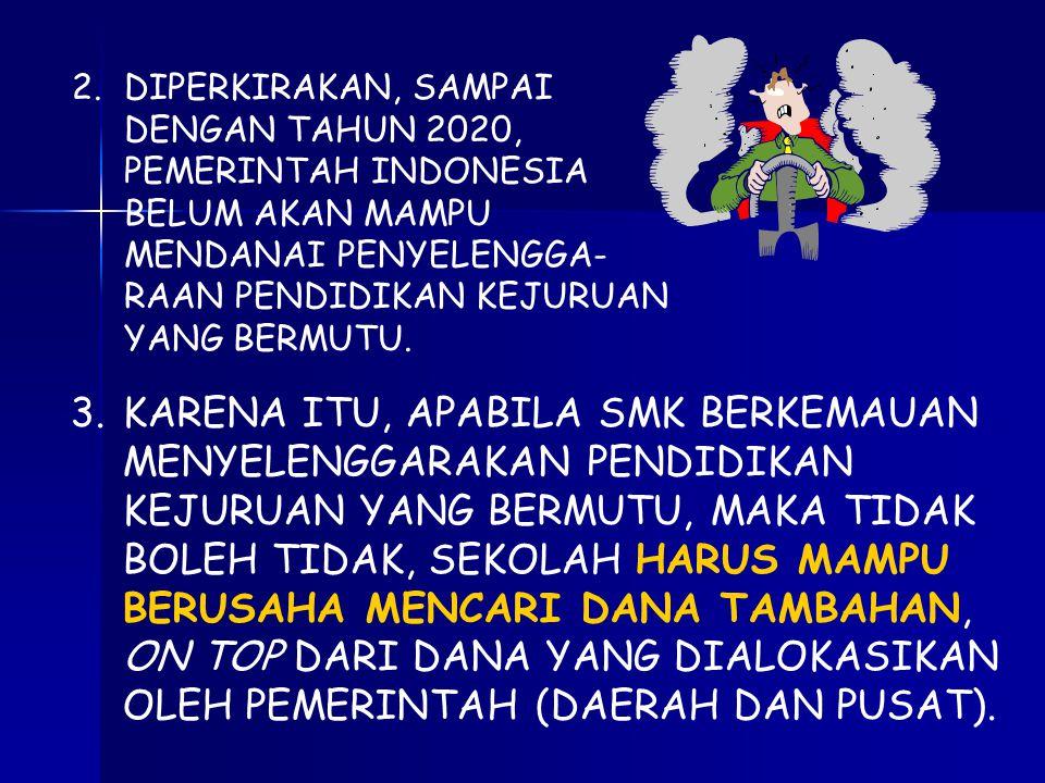 2.DIPERKIRAKAN, SAMPAI DENGAN TAHUN 2020, PEMERINTAH INDONESIA BELUM AKAN MAMPU MENDANAI PENYELENGGA- RAAN PENDIDIKAN KEJURUAN YANG BERMUTU.