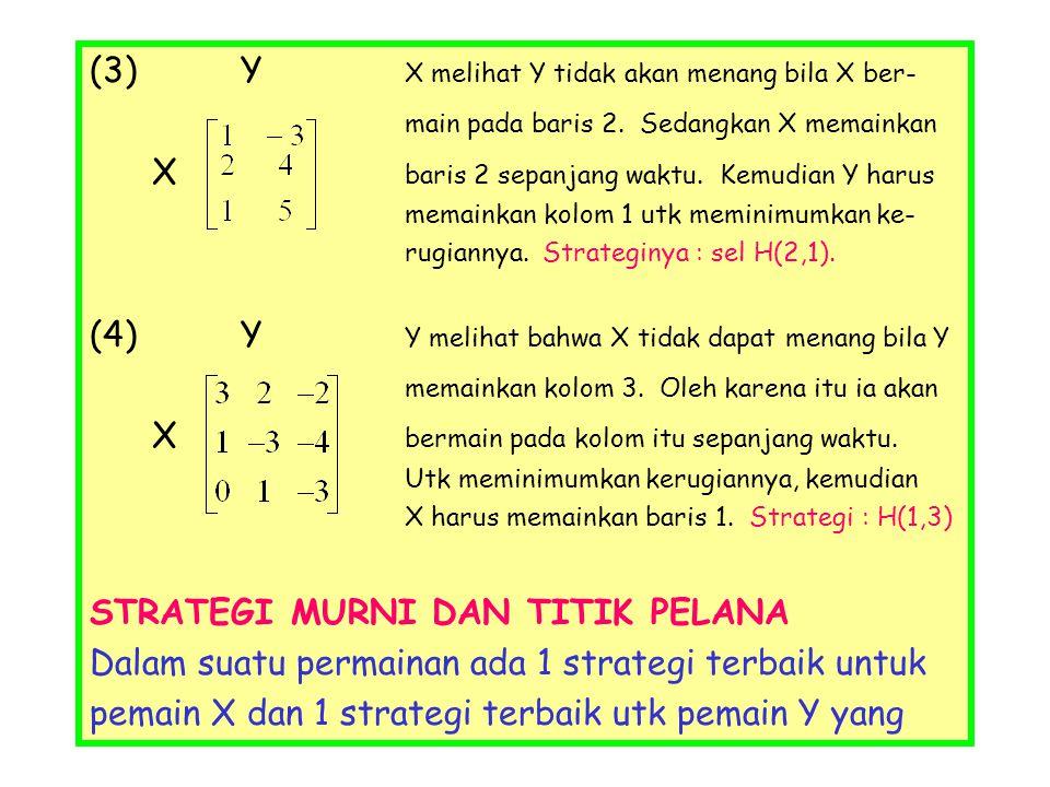 (3) Y X melihat Y tidak akan menang bila X ber- main pada baris 2. Sedangkan X memainkan X baris 2 sepanjang waktu. Kemudian Y harus memainkan kolom 1
