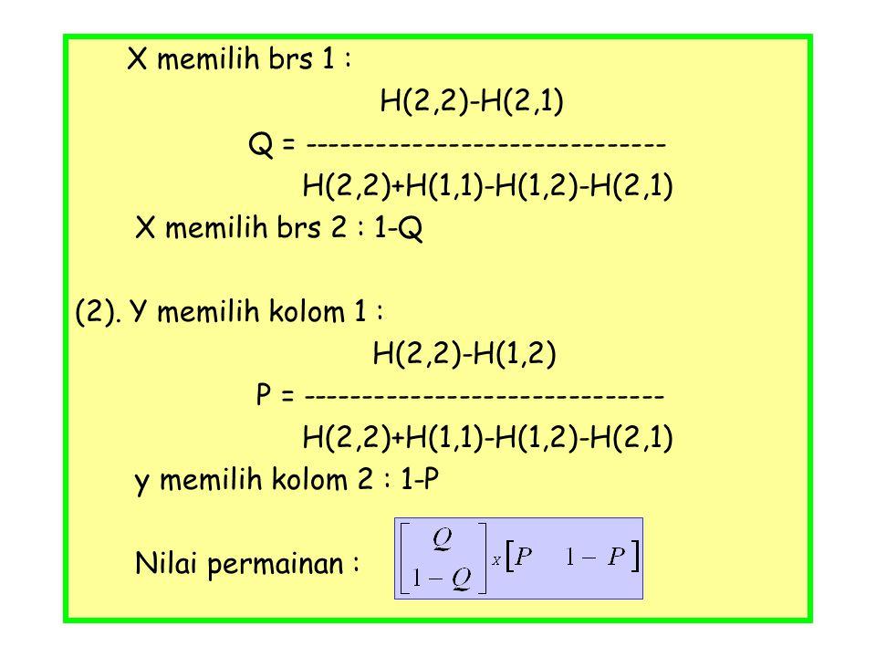 X memilih brs 1 : H(2,2)-H(2,1) Q = ------------------------------ H(2,2)+H(1,1)-H(1,2)-H(2,1) X memilih brs 2 : 1-Q (2). Y memilih kolom 1 : H(2,2)-H