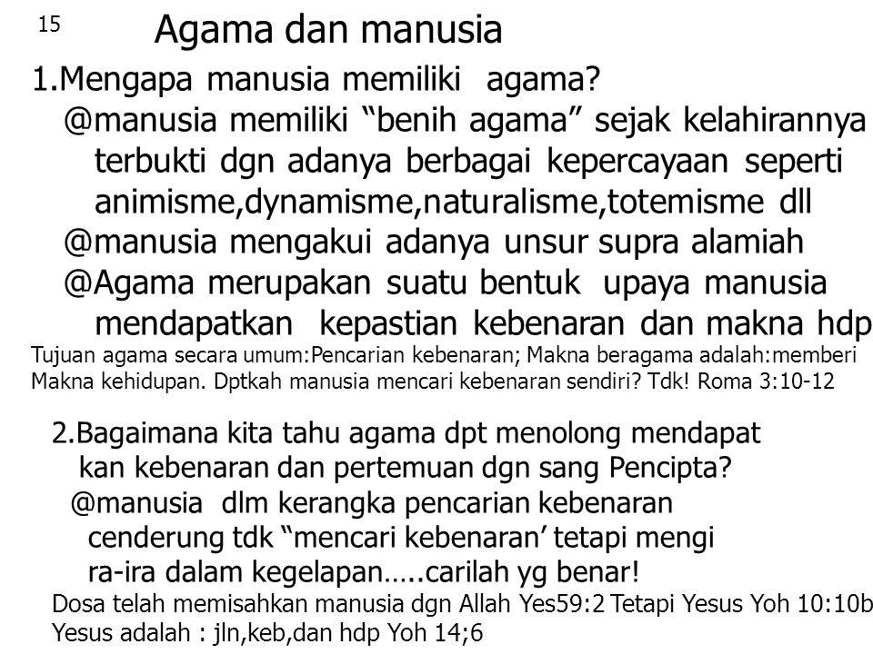 """15 Agama dan manusia 1.Mengapa manusia memiliki agama? @manusia memiliki """"benih agama"""" sejak kelahirannya terbukti dgn adanya berbagai kepercayaan sep"""