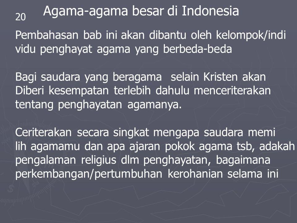 20 Agama-agama besar di Indonesia Pembahasan bab ini akan dibantu oleh kelompok/indi vidu penghayat agama yang berbeda-beda Bagi saudara yang beragama