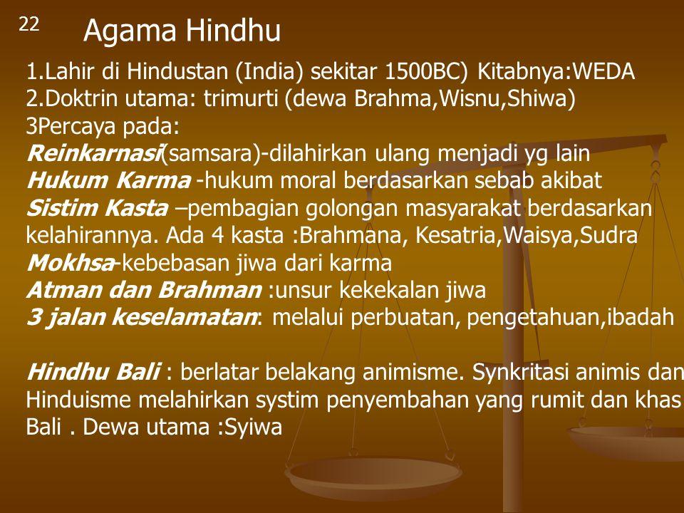22 Agama Hindhu 1.Lahir di Hindustan (India) sekitar 1500BC) Kitabnya:WEDA 2.Doktrin utama: trimurti (dewa Brahma,Wisnu,Shiwa) 3Percaya pada: Reinkarn