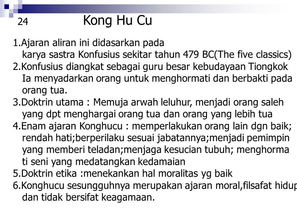 Kong Hu Cu 1.Ajaran aliran ini didasarkan pada karya sastra Konfusius sekitar tahun 479 BC(The five classics) 2.Konfusius diangkat sebagai guru besar