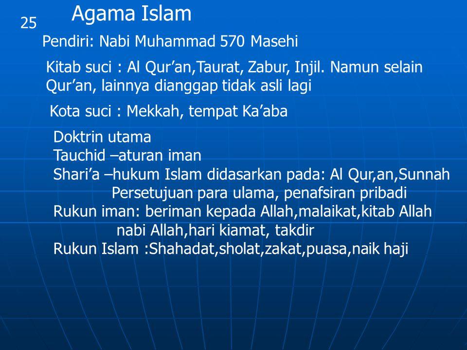 25 Agama Islam Pendiri: Nabi Muhammad 570 Masehi Kitab suci : Al Qur'an,Taurat, Zabur, Injil. Namun selain Qur'an, lainnya dianggap tidak asli lagi Ko