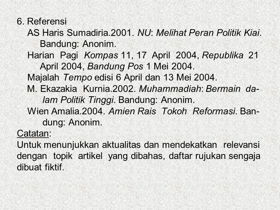 6. Referensi AS Haris Sumadiria.2001. NU: Melihat Peran Politik Kiai. Bandung: Anonim. Harian Pagi Kompas 11, 17 April 2004, Republika 21 April 2004,