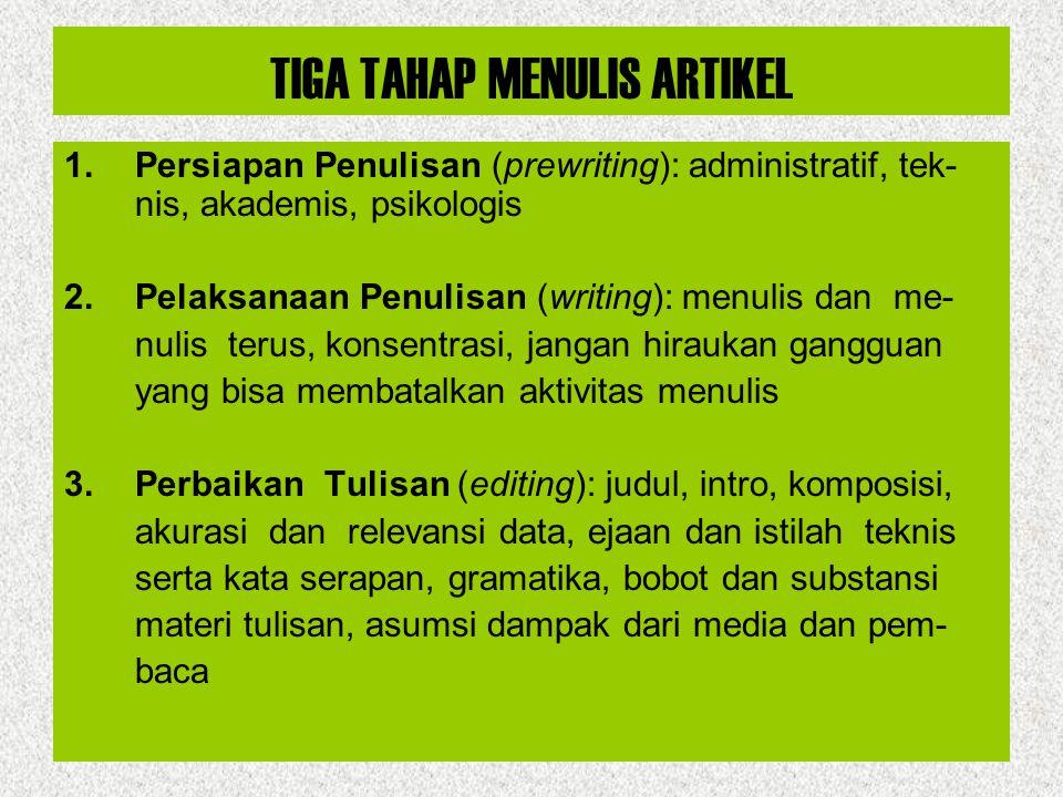 TIGA TAHAP MENULIS ARTIKEL 1.Persiapan Penulisan (prewriting): administratif, tek- nis, akademis, psikologis 2.Pelaksanaan Penulisan (writing): menuli