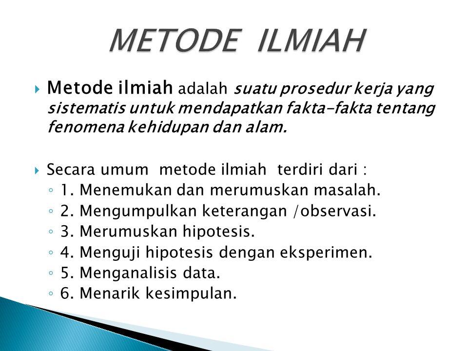  Metode ilmiah adalah suatu prosedur kerja yang sistematis untuk mendapatkan fakta-fakta tentang fenomena kehidupan dan alam.  Secara umum metode il