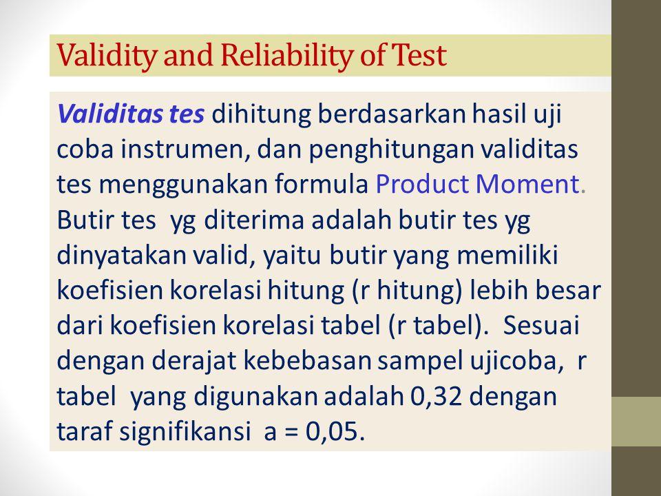 Validity and Reliability of Test Validitas tes dihitung berdasarkan hasil uji coba instrumen, dan penghitungan validitas tes menggunakan formula Produ
