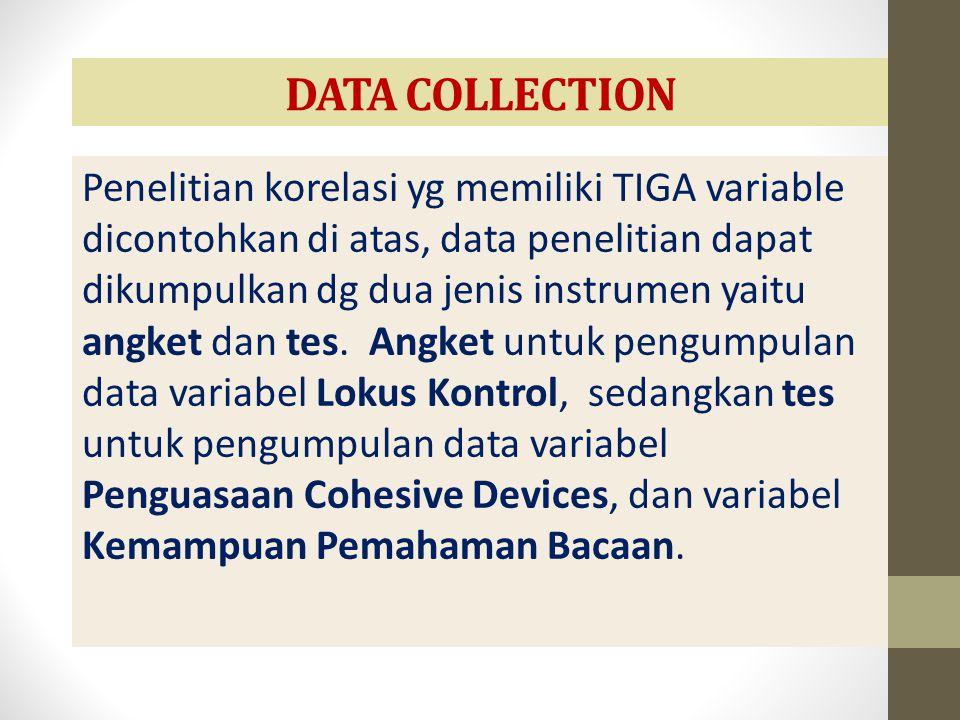 DATA COLLECTION Penelitian korelasi yg memiliki TIGA variable dicontohkan di atas, data penelitian dapat dikumpulkan dg dua jenis instrumen yaitu angk