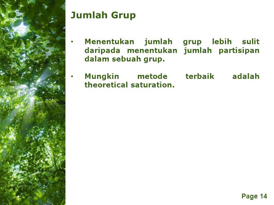 Free Powerpoint Templates Page 14 Jumlah Grup Menentukan jumlah grup lebih sulit daripada menentukan jumlah partisipan dalam sebuah grup. Mungkin meto