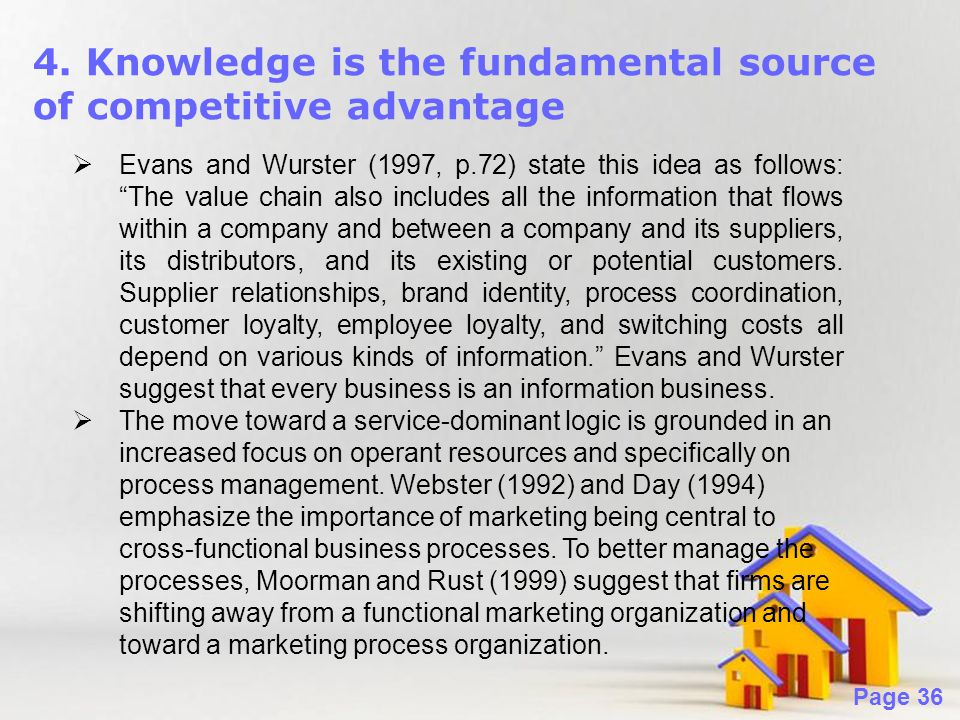Powerpoint Templates Page 36 4. Knowledge is the fundamental source of competitive advantage  Evans and Wurster (1997, p.72) state this idea as follo