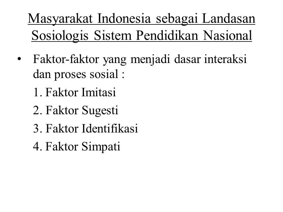Masyarakat Indonesia sebagai Landasan Sosiologis Sistem Pendidikan Nasional Faktor-faktor yang menjadi dasar interaksi dan proses sosial : 1.Faktor Im