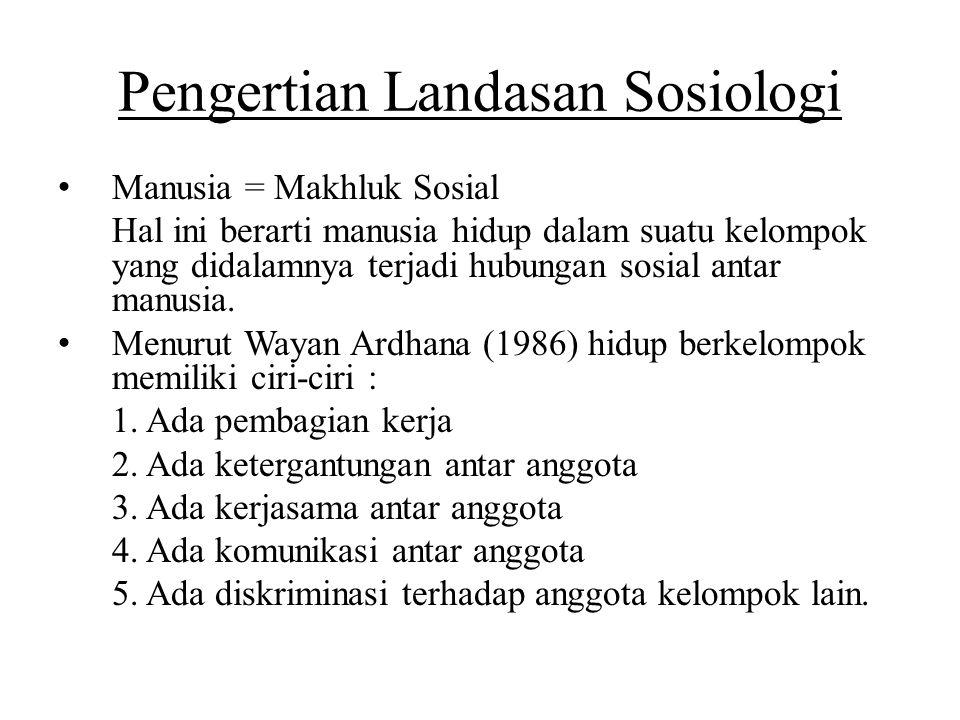 Pengertian Landasan Sosiologi Manusia = Makhluk Sosial Hal ini berarti manusia hidup dalam suatu kelompok yang didalamnya terjadi hubungan sosial anta