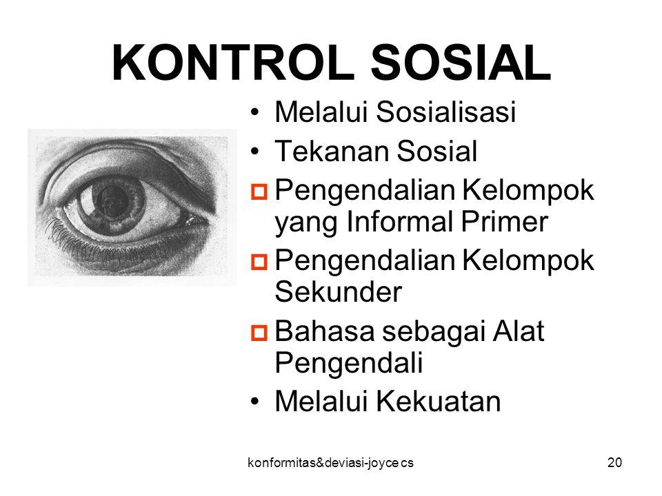 konformitas&deviasi-joyce cs20 KONTROL SOSIAL Melalui Sosialisasi Tekanan Sosial  Pengendalian Kelompok yang Informal Primer  Pengendalian Kelompok
