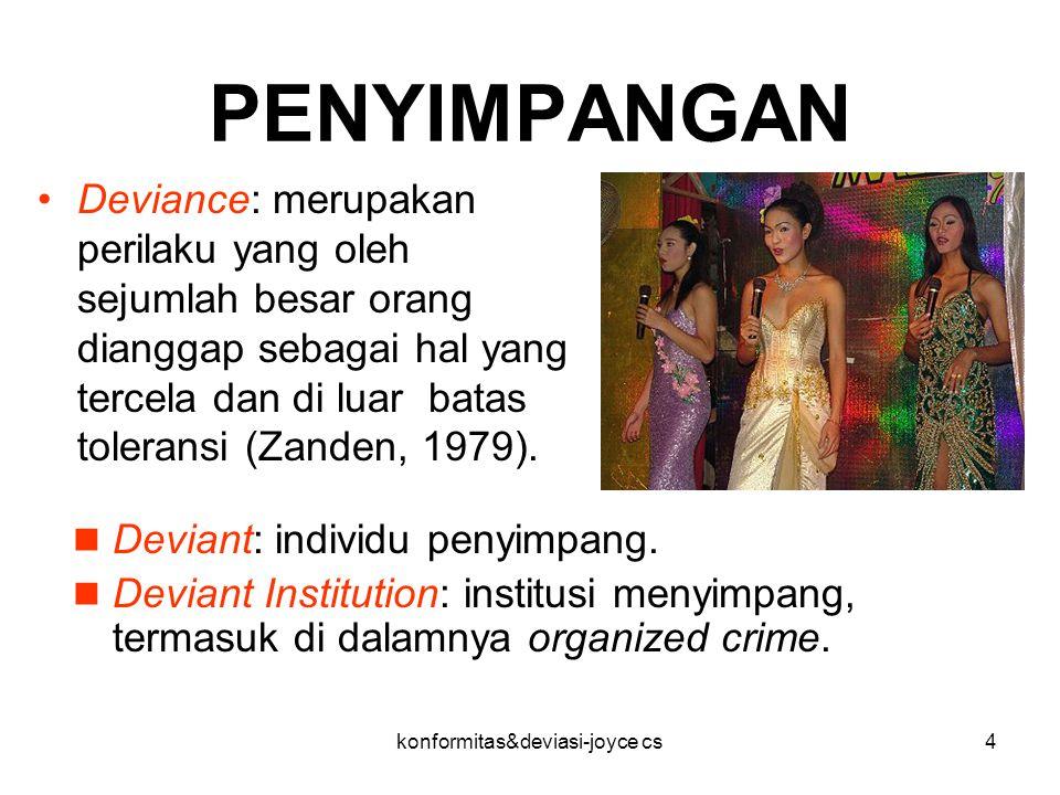 konformitas&deviasi-joyce cs4 PENYIMPANGAN Deviance: merupakan perilaku yang oleh sejumlah besar orang dianggap sebagai hal yang tercela dan di luar b