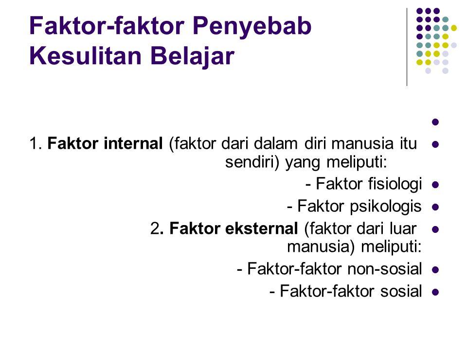 Faktor-faktor Penyebab Kesulitan Belajar 1. Faktor internal (faktor dari dalam diri manusia itu sendiri) yang meliputi: - Faktor fisiologi - Faktor ps