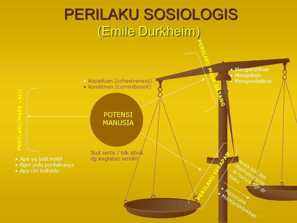 PERILAKU SOSIOLOGIS (Emile Durkheim) PERILAKU SOSIOLOGIS (Emile Durkheim) PERILAKU MASA LALU PERILAKU MASA DATANG PERILAKU TERAPAN Apa yg jadi motif B