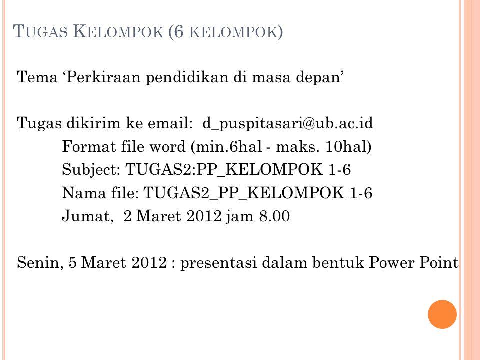 T UGAS K ELOMPOK (6 KELOMPOK ) Tema 'Perkiraan pendidikan di masa depan' Tugas dikirim ke email: d_puspitasari@ub.ac.id Format file word (min.6hal - m