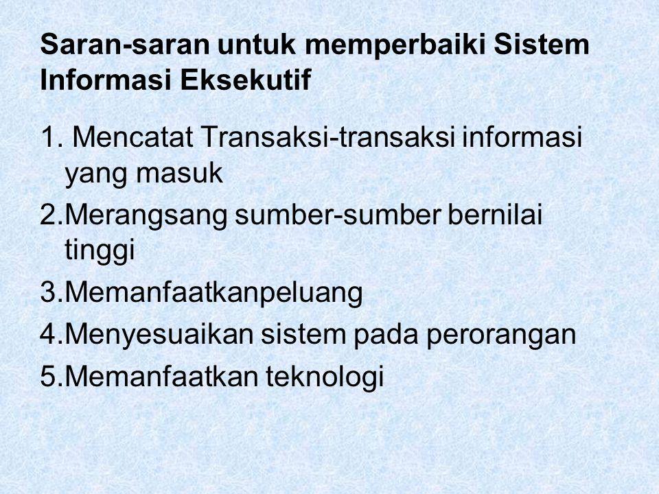 Saran-saran untuk memperbaiki Sistem Informasi Eksekutif 1.