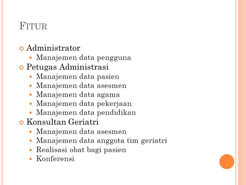 F ITUR Administrator Manajemen data pengguna Petugas Administrasi Manajemen data pasien Manajemen data asesmen Manajemen data agama Manajemen data pek