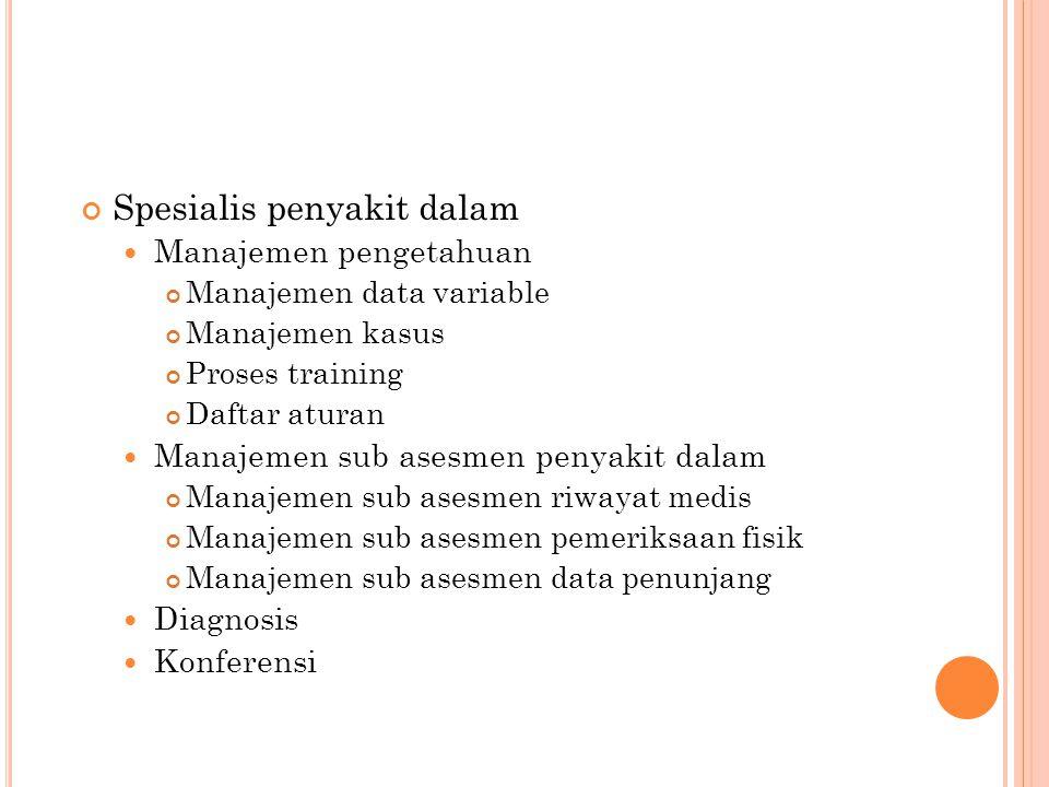 Spesialis penyakit dalam Manajemen pengetahuan Manajemen data variable Manajemen kasus Proses training Daftar aturan Manajemen sub asesmen penyakit dalam Manajemen sub asesmen riwayat medis Manajemen sub asesmen pemeriksaan fisik Manajemen sub asesmen data penunjang Diagnosis Konferensi