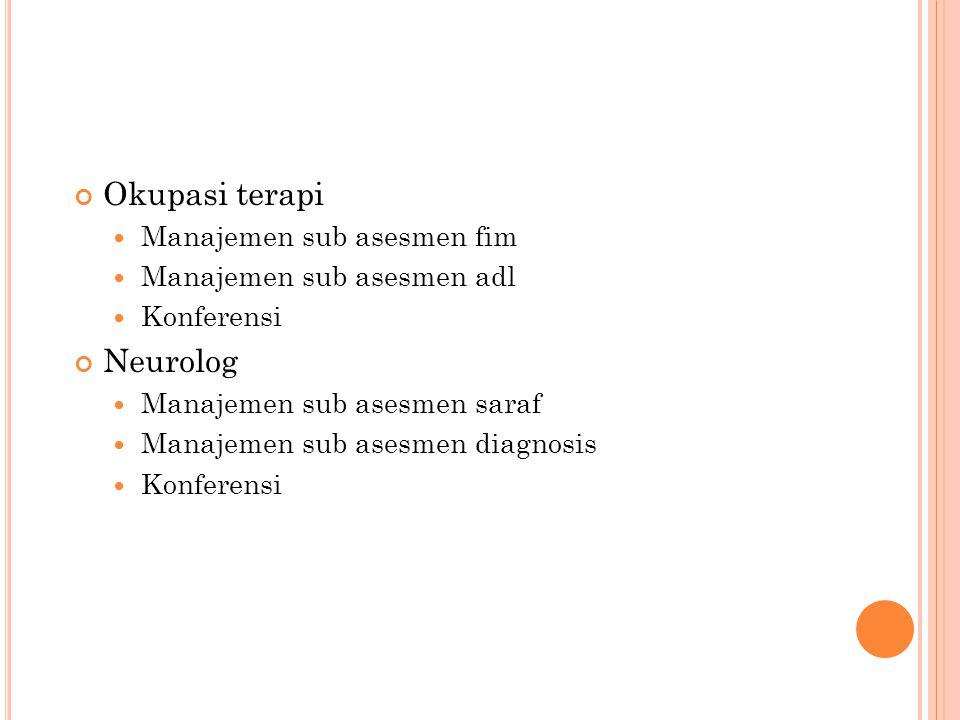 Okupasi terapi Manajemen sub asesmen fim Manajemen sub asesmen adl Konferensi Neurolog Manajemen sub asesmen saraf Manajemen sub asesmen diagnosis Konferensi