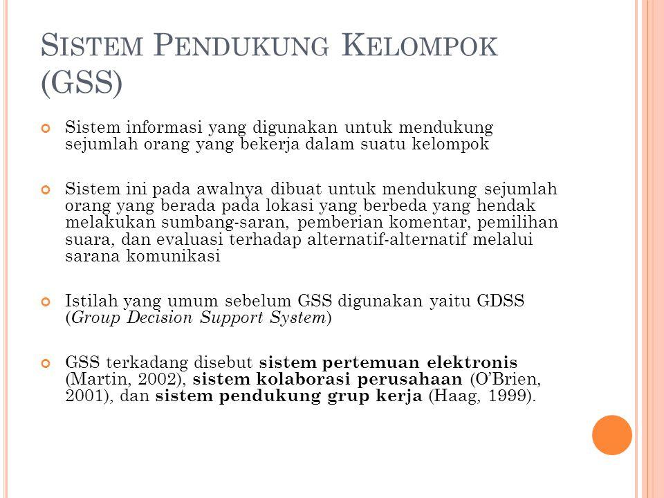 S ISTEM P ENDUKUNG K ELOMPOK (GSS) Sistem informasi yang digunakan untuk mendukung sejumlah orang yang bekerja dalam suatu kelompok Sistem ini pada aw