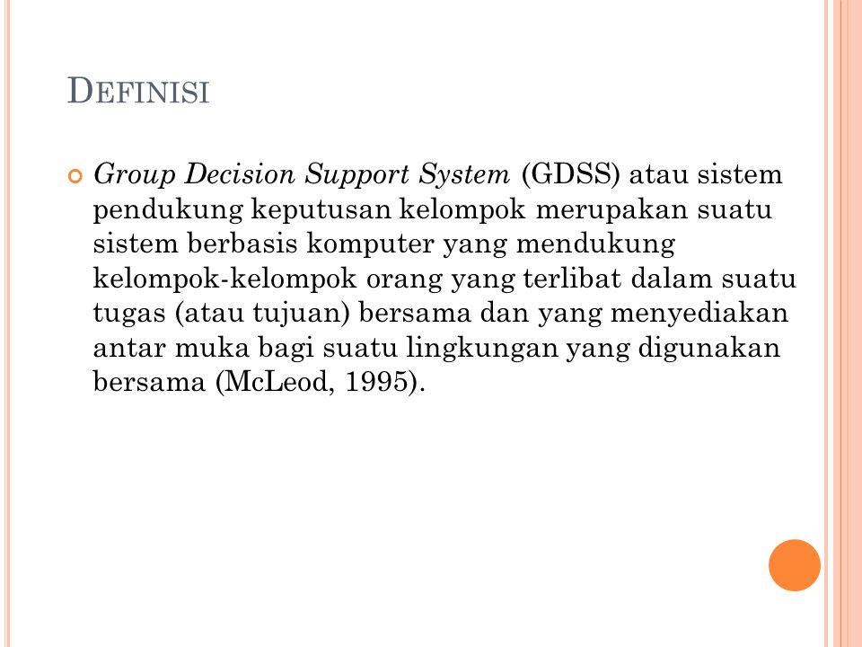 D EFINISI Group Decision Support System (GDSS) atau sistem pendukung keputusan kelompok merupakan suatu sistem berbasis komputer yang mendukung kelompok-kelompok orang yang terlibat dalam suatu tugas (atau tujuan) bersama dan yang menyediakan antar muka bagi suatu lingkungan yang digunakan bersama (McLeod, 1995).