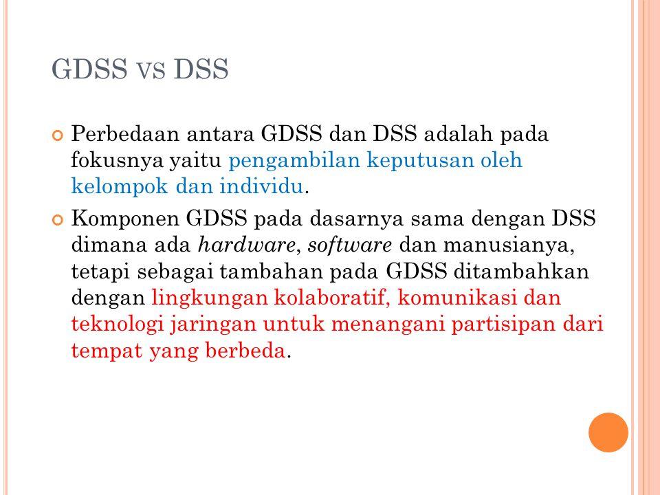 GDSS VS DSS Perbedaan antara GDSS dan DSS adalah pada fokusnya yaitu pengambilan keputusan oleh kelompok dan individu. Komponen GDSS pada dasarnya sam