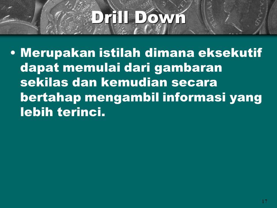 17 Drill Down Merupakan istilah dimana eksekutif dapat memulai dari gambaran sekilas dan kemudian secara bertahap mengambil informasi yang lebih terinci.