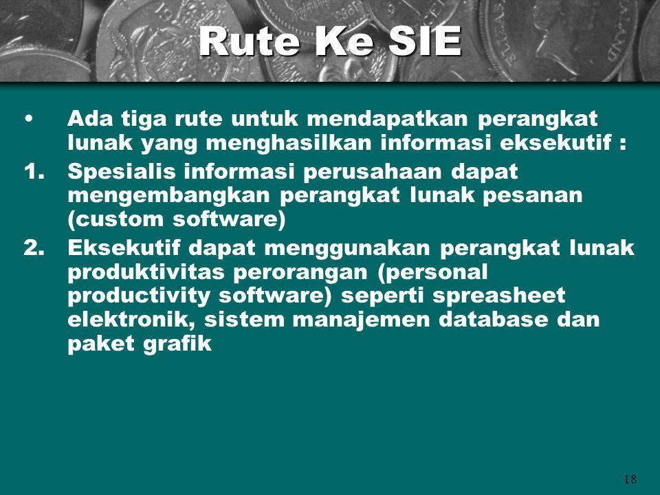 18 Rute Ke SIE Ada tiga rute untuk mendapatkan perangkat lunak yang menghasilkan informasi eksekutif : 1.Spesialis informasi perusahaan dapat mengemba