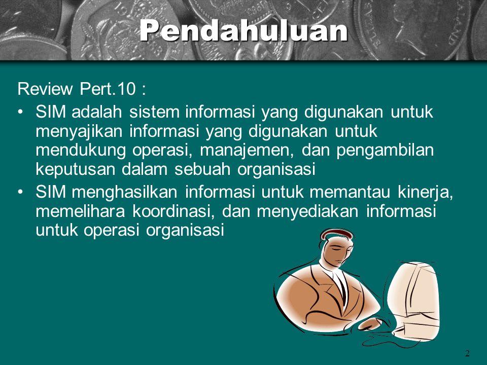 2Pendahuluan Review Pert.10 : SIM adalah sistem informasi yang digunakan untuk menyajikan informasi yang digunakan untuk mendukung operasi, manajemen,