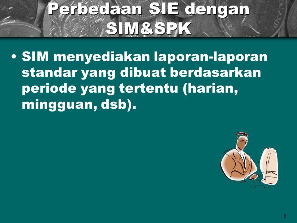 8 Perbedaan SIE dengan SIM&SPK SIM menyediakan laporan-laporan standar yang dibuat berdasarkan periode yang tertentu (harian, mingguan, dsb).