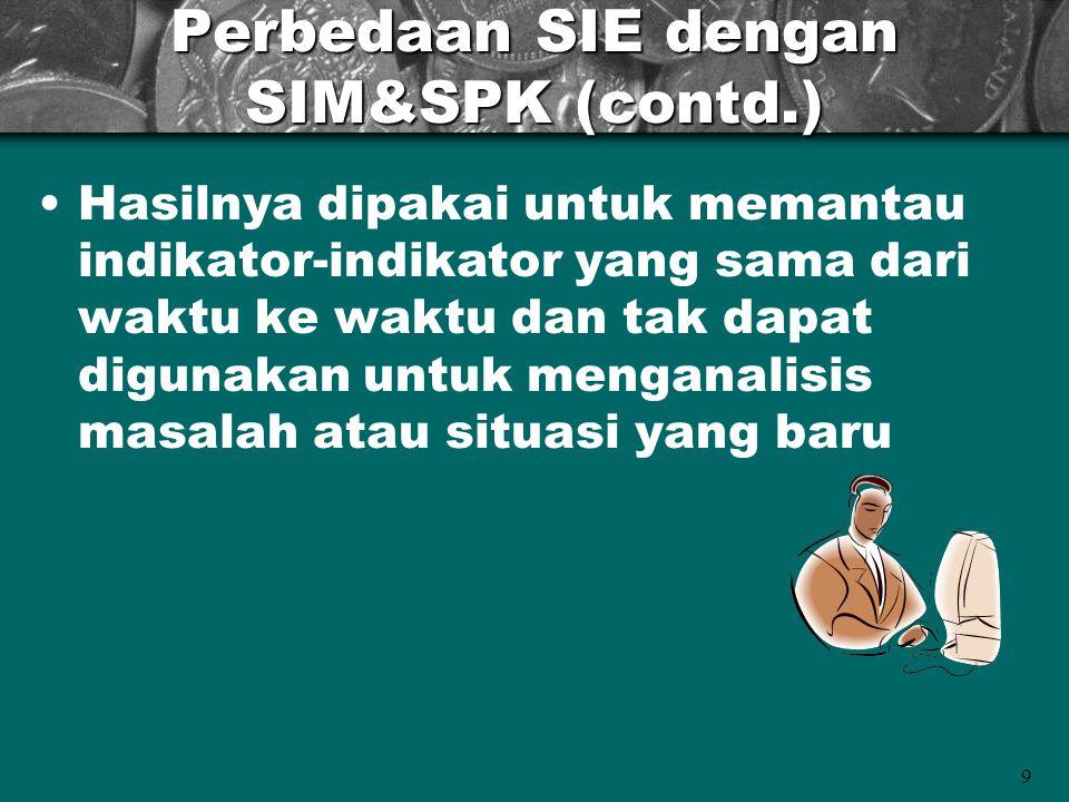 9 Perbedaan SIE dengan SIM&SPK (contd.) Hasilnya dipakai untuk memantau indikator-indikator yang sama dari waktu ke waktu dan tak dapat digunakan untu