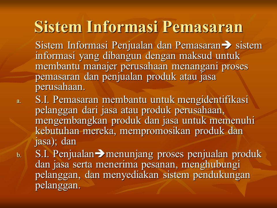 Sistem Informasi Pemasaran Sistem Informasi Penjualan dan Pemasaran  sistem informasi yang dibangun dengan maksud untuk membantu manajer perusahaan m