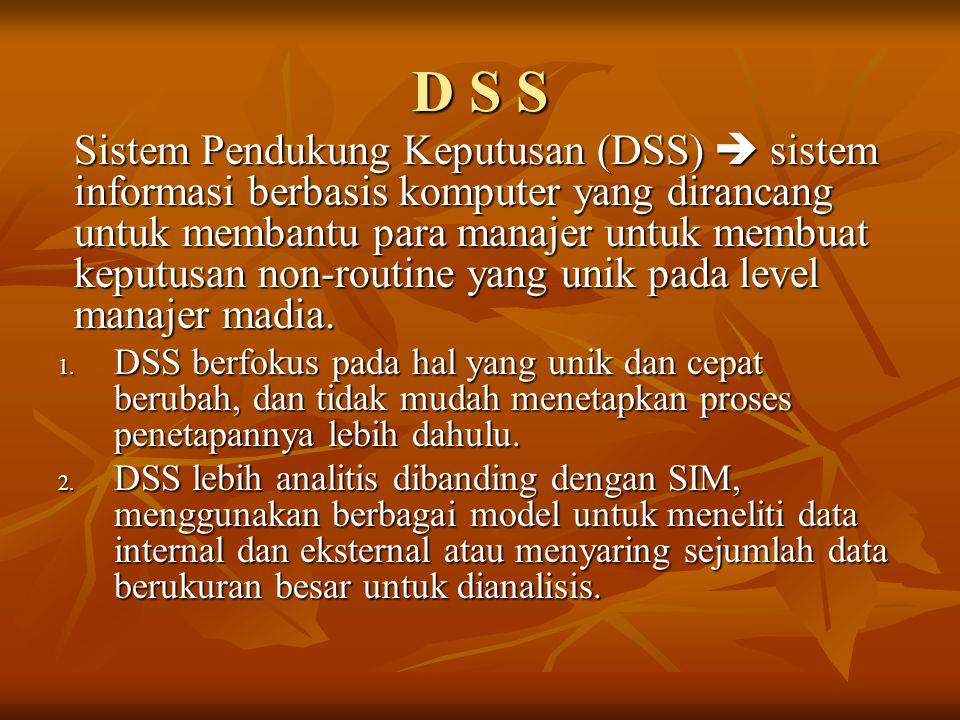 D S S Sistem Pendukung Keputusan (DSS)  sistem informasi berbasis komputer yang dirancang untuk membantu para manajer untuk membuat keputusan non-rou